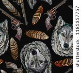 embroidery head wolf  feathers... | Shutterstock .eps vector #1185357757