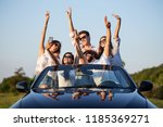 young lucky girls and boys in... | Shutterstock . vector #1185369271