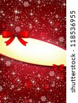greeting card with red bow and... | Shutterstock . vector #118536955