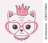 cute little cat princess face...   Shutterstock .eps vector #1185373864