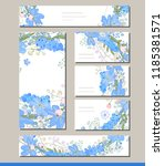 muscari set with visitcards and ... | Shutterstock .eps vector #1185381571