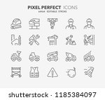 thin line icons set of... | Shutterstock .eps vector #1185384097
