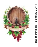 Watercolor Wine Barrel...