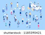 isometric office with business... | Shutterstock .eps vector #1185390421