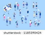 office workspace. isometric... | Shutterstock .eps vector #1185390424