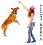 Stock photo woman playing with her dog isolated over a white background 118539445