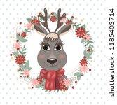 cartoon deer  children's... | Shutterstock .eps vector #1185403714