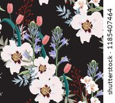 trendy floral pattern with the... | Shutterstock .eps vector #1185407464