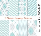 Modern White Christmas Backgrounds. 8 Seamless Chevron and Argyle Patterns in Aqua Blue, Turquoise, White & Silver. Nice background for Scrapbook or Photo Collage. Matching Image ID: 128027708. | Shutterstock vector #118541659