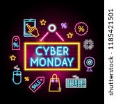 cyber monday neon concept.... | Shutterstock .eps vector #1185421501