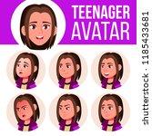 teen girl avatar set. face... | Shutterstock . vector #1185433681
