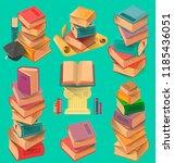 set of book stacks in flat...   Shutterstock .eps vector #1185436051