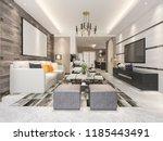 3d rendering modern dining room ... | Shutterstock . vector #1185443491