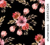 seamless pattern with flowers ... | Shutterstock . vector #1185451204