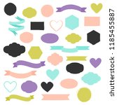 set of hand drawn shapes in... | Shutterstock .eps vector #1185455887
