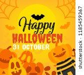 cute cartoon halloween banner. | Shutterstock .eps vector #1185459367
