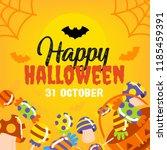 cute cartoon halloween banner. | Shutterstock .eps vector #1185459391