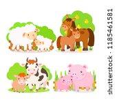 farm animals. vector... | Shutterstock .eps vector #1185461581