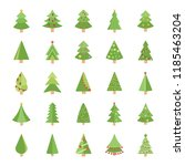 christmas trees flat vector... | Shutterstock .eps vector #1185463204