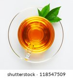 cup with tea and green leaf on...   Shutterstock . vector #118547509