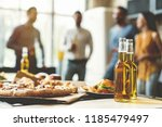 pizza time. close up of tasty... | Shutterstock . vector #1185479497