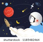 flight to mars. illustration in ... | Shutterstock .eps vector #1185482464