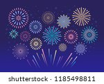 colorful fireworks. celebration ... | Shutterstock .eps vector #1185498811