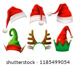 christmas holiday hat. funny 3d ... | Shutterstock .eps vector #1185499054