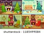 christmas room interior. xmas... | Shutterstock .eps vector #1185499084