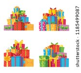 christmas presents in gift... | Shutterstock .eps vector #1185499087