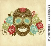 skull and roses  colorful day... | Shutterstock .eps vector #118550191
