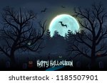 happy halloween background with ...   Shutterstock .eps vector #1185507901