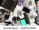 used modern electronic gadgets... | Shutterstock . vector #1185515584