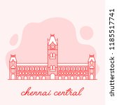 chennai central railway station ... | Shutterstock .eps vector #1185517741
