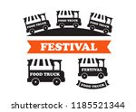 food truck festival emblems and ... | Shutterstock . vector #1185521344
