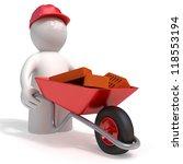 3d man wheels bricks in a...   Shutterstock . vector #118553194