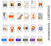 24 file icons of different file ... | Shutterstock .eps vector #11855410