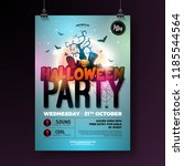 halloween party flyer vector... | Shutterstock .eps vector #1185544564