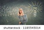 business concept as a pensive... | Shutterstock . vector #1185545014