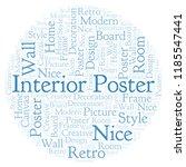 interior poster word cloud. | Shutterstock . vector #1185547441