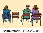women sit back on chairs. pop... | Shutterstock .eps vector #1185549604