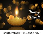 diwali lamp background with... | Shutterstock .eps vector #1185554737