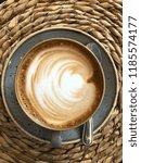 hot cappuccino or latte art... | Shutterstock . vector #1185574177