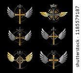 crosses of christianity emblems ... | Shutterstock .eps vector #1185579187