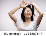 bad hair condition. upset...   Shutterstock . vector #1185587647