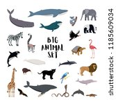 Stock vector vector illustration big set cartoon style icons of different animals birds whales dolphins 1185609034