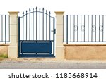 blue fence gate with bars... | Shutterstock . vector #1185668914