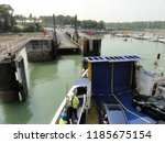 arrival and unloading car ferry ... | Shutterstock . vector #1185675154
