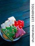 four homemade glazed... | Shutterstock . vector #1185684301