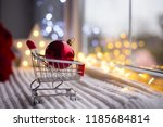 red christmas ball in toy... | Shutterstock . vector #1185684814
